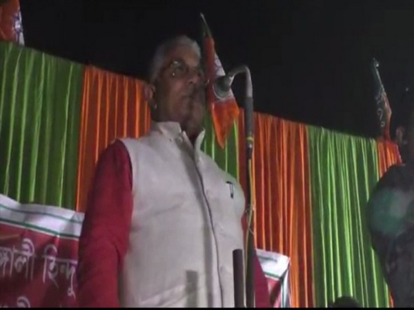West Bengal BJP president Dilip Ghosh addressing a public gathering in Nadia, West Bengal on Sunday. Photo/ANI