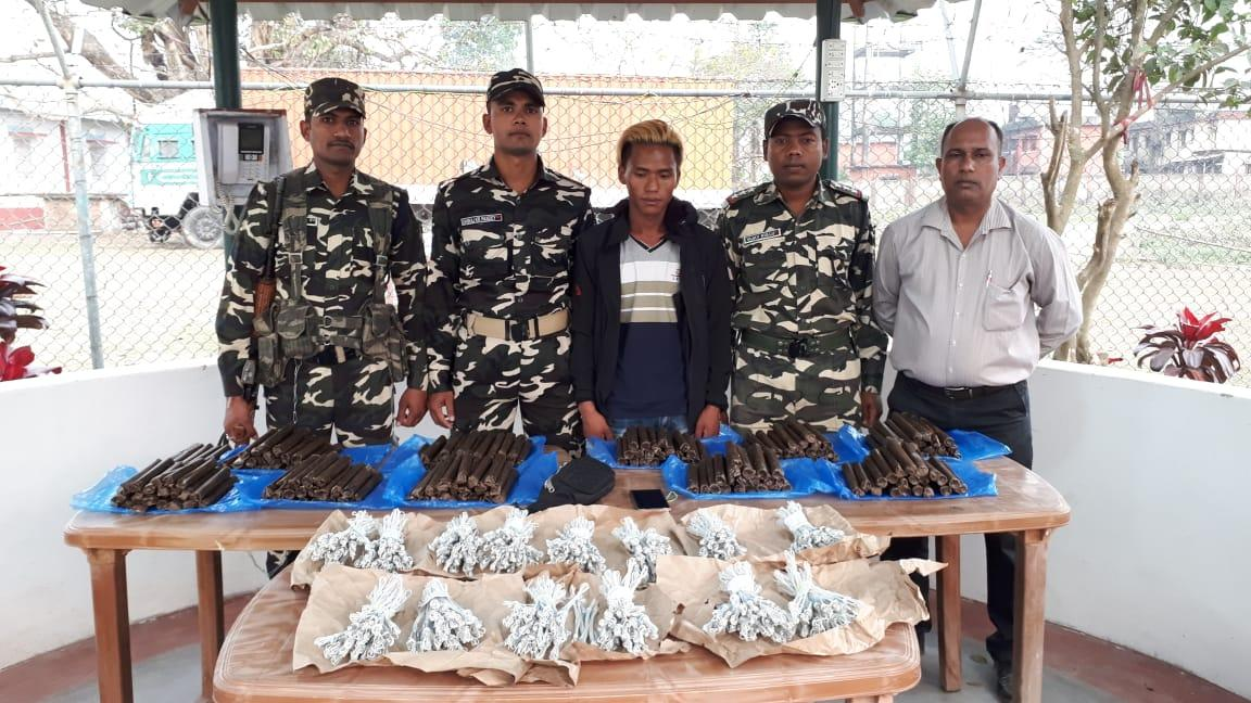 Border Interaction Team members with the accused and recovered explosive materials on Saturday.