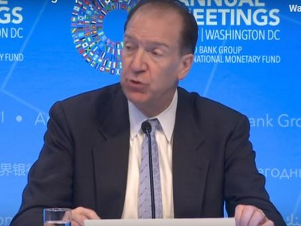 World Bank President David Malpass addressing a press briefing on Thursday
