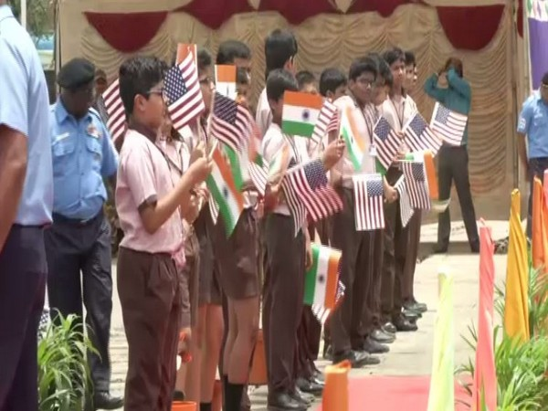 Students queue up to welcome United States Coast Guard ship Stratton at Chennai. Photo/ANI