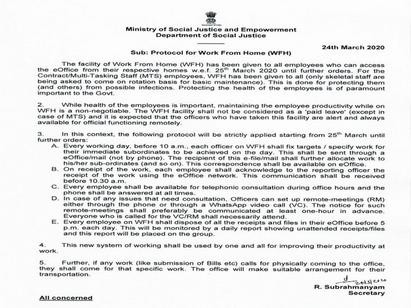 A grab of the letter issued by secretary, higher education, to the Ministry of Social Justice and Empowerment.[Photo/ANI]