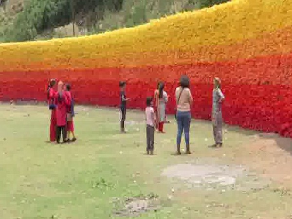 Wall of Hope constructed in Mussoorie's Bungalow ki Kandi village to spread message of litter free hills. Photo/ANI