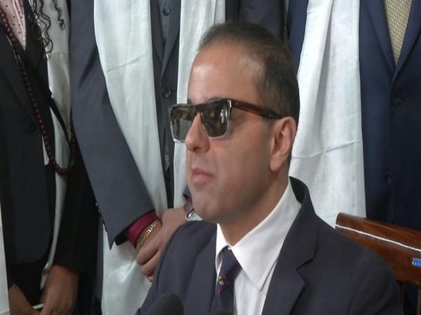 Lieutenant Governor of Washington Cyrus Habib speaking to the media after meeting the Dalai Lama on Monday