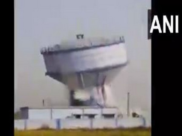 Falling of a huge overhead water tank in Bankura district's Sarenga area on Wednesday.