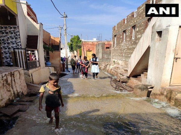 Waterlogging in Badami, Karnataka after a pond overflowed due to heavy rainfall.