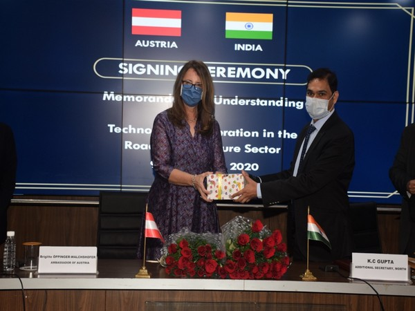 The MoU was signed by the Additional Secretary, MoRTH Shri KC Gupta (right) and the Ambassador of Austria Brigitte Oppinger-Walchshofer. Photo/ANI