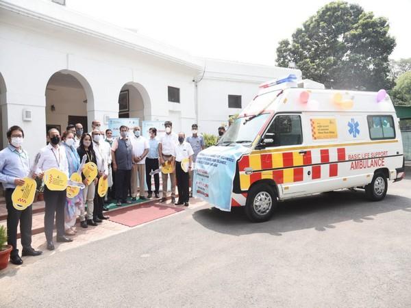 Union Minister Nitin Gadkari at the launch of the ambulances in New Delhi. (Photo/ANI)