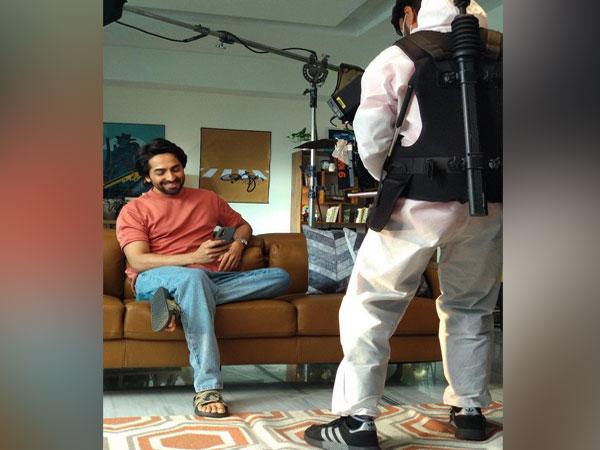 Actor Ayushmann Khurrana at the shoot location