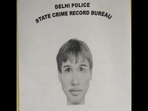 The portrait of the suspect in Connaught place chain-snatching incident was published by Delhi Police on Wednesday. Photo/ANI