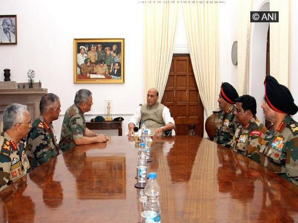 Defence Minister Rajnath Singh holding discussions with Army chief Gen Bipin Rawat and all Army commanders in South Block last week.Photo/(ANI)