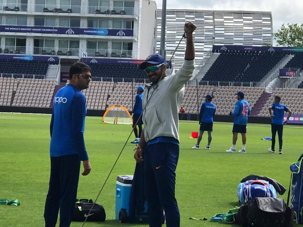India all-rounder Vijay Shankar warming up during practise session here on Thursday. (Photo/ ANI)