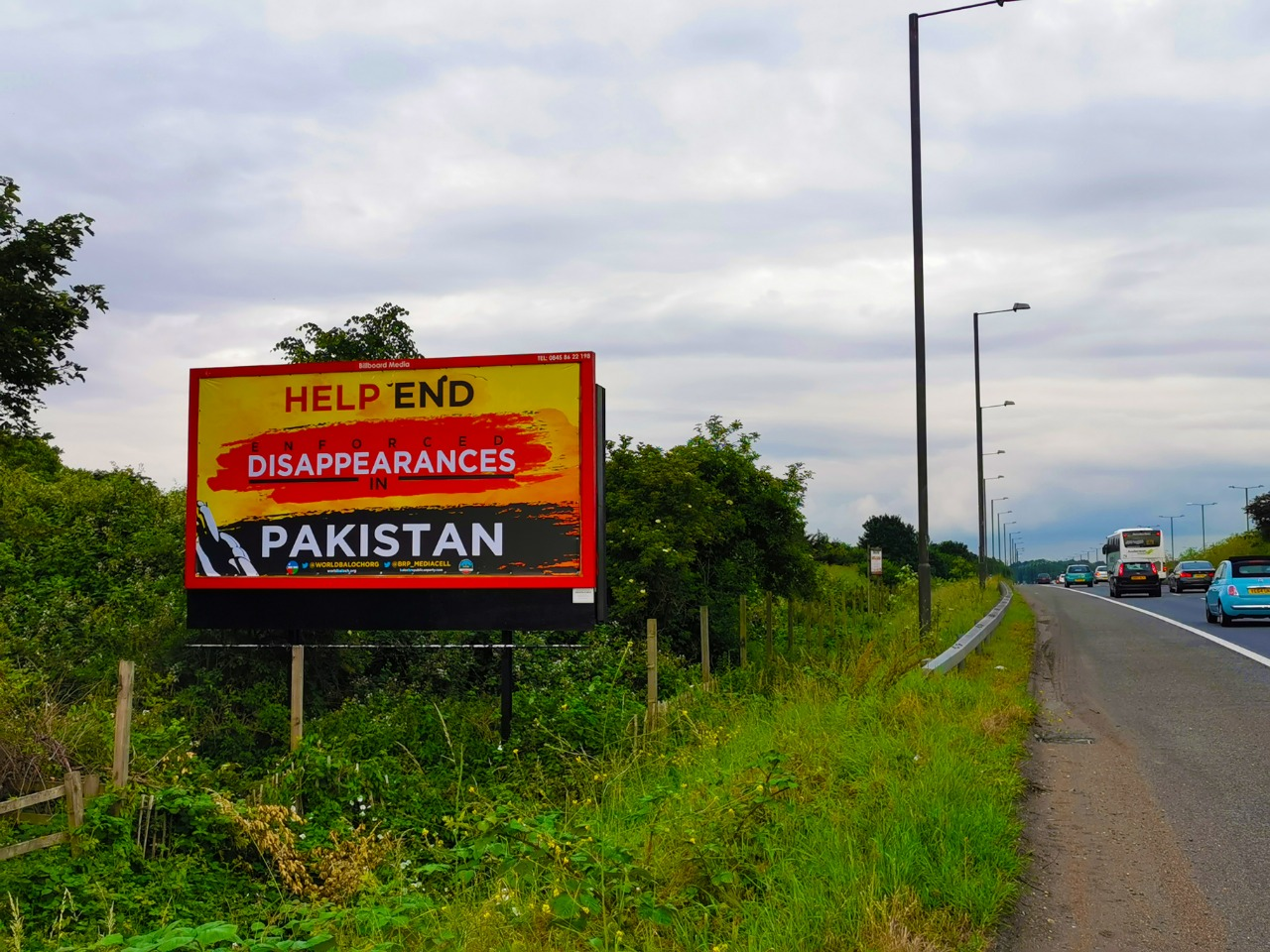 "Roadside billboards have been put up around the city of London with slogans ""Help end enforced disappearances in Pakistan."" (Photo: ANI)"
