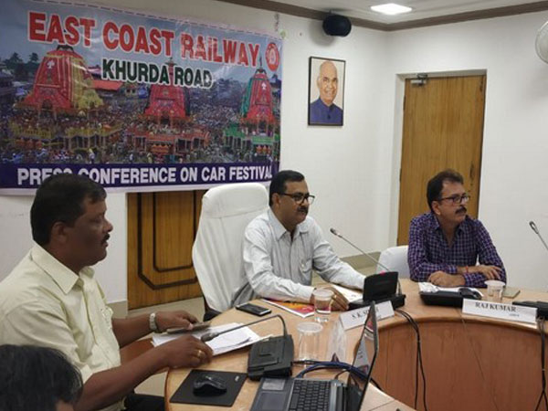 Meeting of Railway officials at the office of Divisional Railway Manager (DRM), CoR, Khurda Road. Photo/ANI