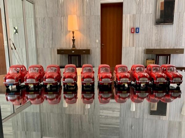 Miniatures of German ambassador Linder's red ambassador car (Photo/ANI)