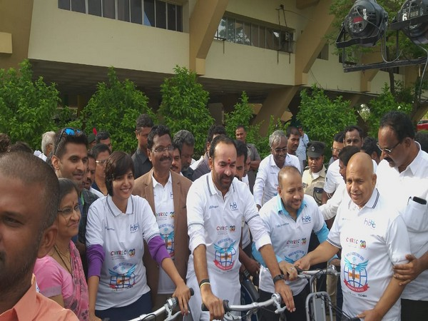 Minister of State (MoS) Of Home Affairs, G Kishan Reddy participating in a bicycle event in Hyderabad on Saturday