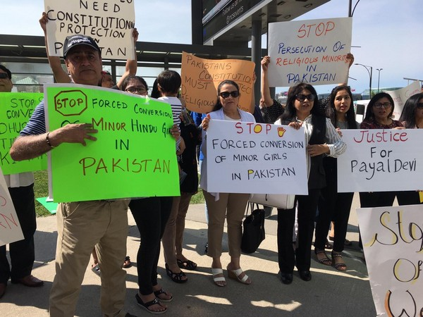 Protests held in Mississauga on Sunday against forced religious conversion of minor Hindu girls in Pakistan