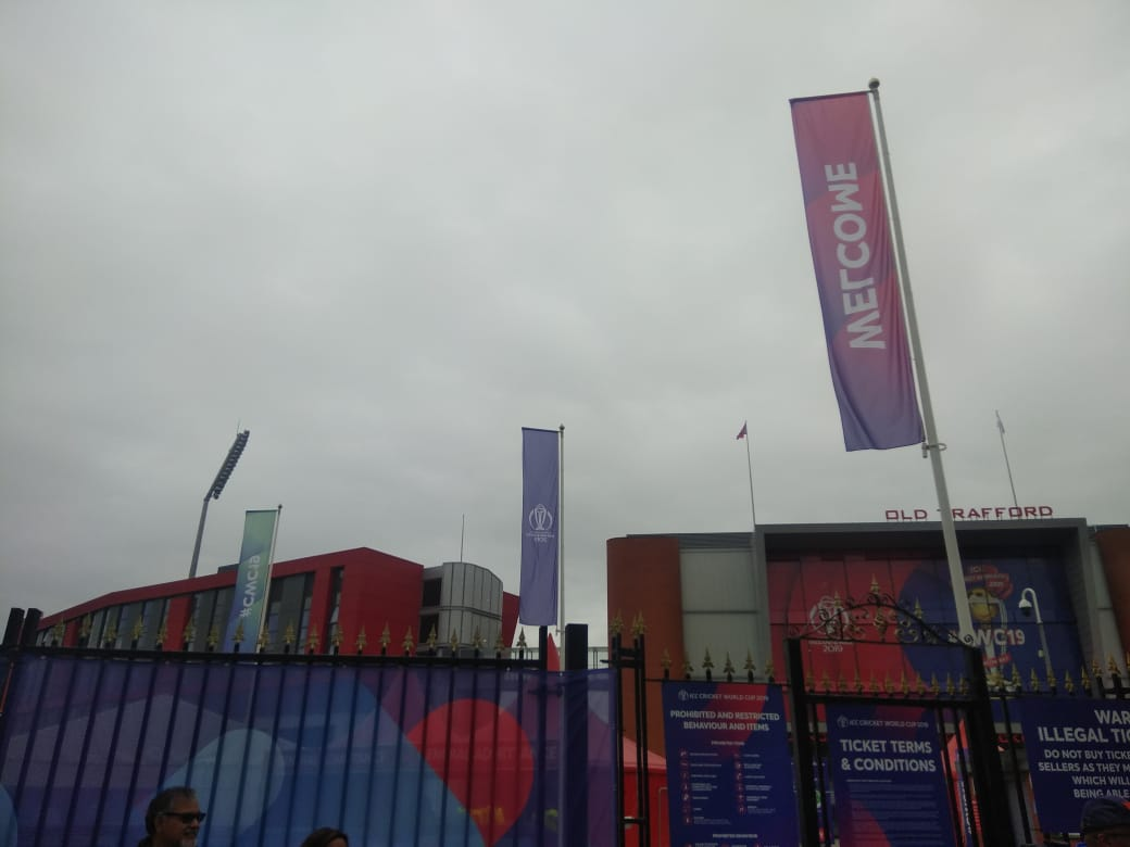 Dark grey clouds at Old Trafford, Manchester, ahead of India-New Zealand semi-final