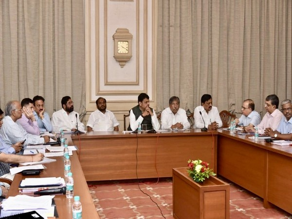 CM Devendra Fadnavis along with ministers and senior official at a meeting