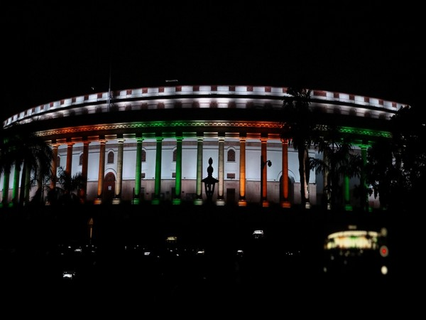 The Parliament was illuminated with dynamic facade lighting on Tuesday.