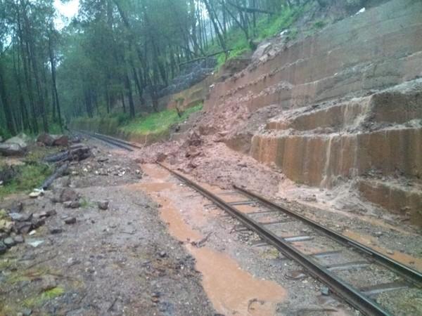 damaged railway tracks of Shimla-Kalka heritage route