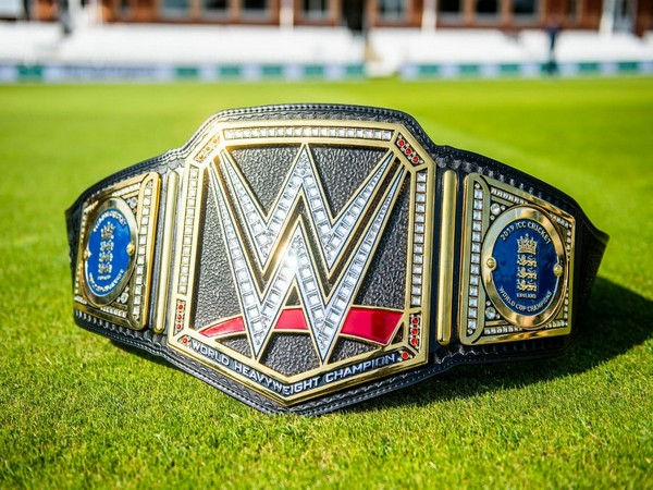 Customised WWE Championship title for England cricket team.