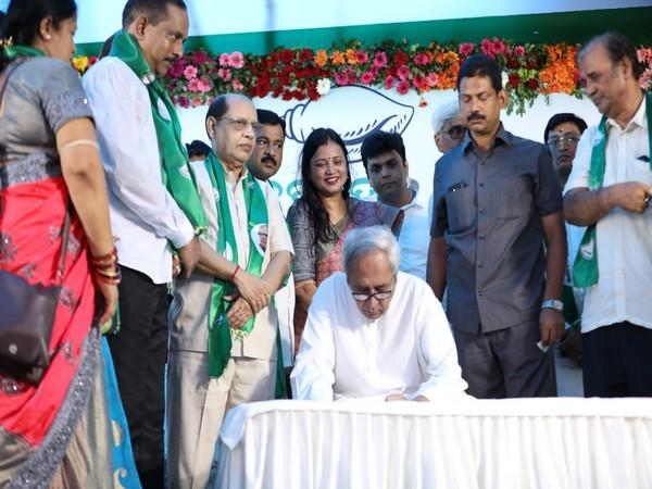 Odhisha Chief Minister Naveen Patnaik at BJD's headquarters in Bhubaneswar on Monday.Photo/ANI