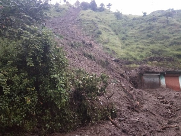 A visual of the landslide occurred at Kumaratoli road in Uttarakhand on Friday. Photo/ANI