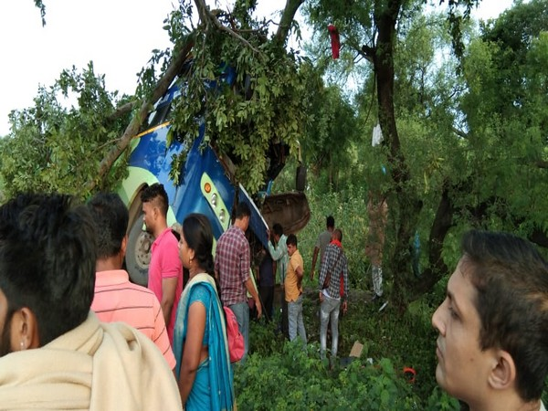 Visuals of the bus after it collided with a tree on National Highway 30 in Dhamtari in Chhattisgarh on Tuesday morning. Photo/ANI