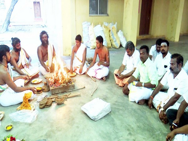 State BJP members performing special pooja on Prime Minister Narendra Modi's birthday on Tuesday. Photo/ANI
