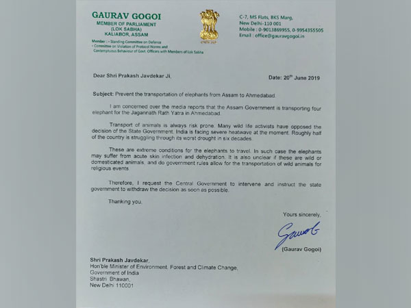 Gaurav Gogoi's letter to Prakash Javdekar. Photo/(ANI)