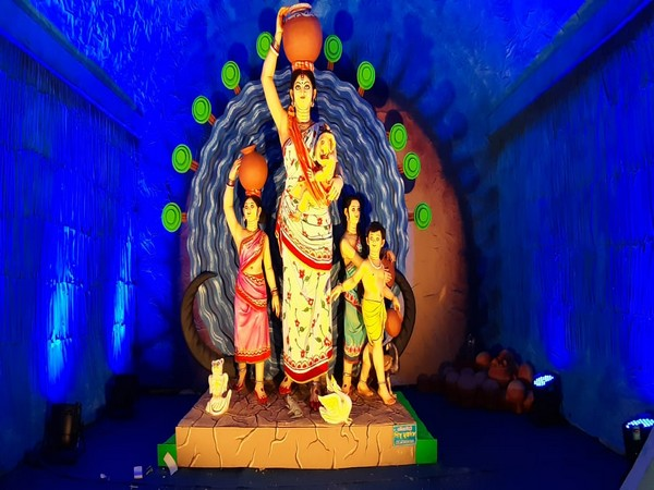 One of the Durga Puja Pandal in West Bengal's Silliguri. Photo/ANI