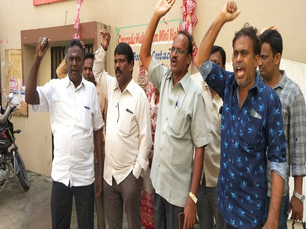 TSRTC Employees Union office-bearers protesting against the government's decision to sack about 50,000 employees, in Hyderabad on Monday. Photo/ANI