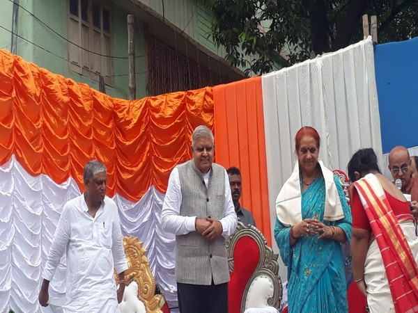 West Bengal Governor Jagdeep Dhankar at a puja pandal in Hoogly on Monday. Photo/ANI
