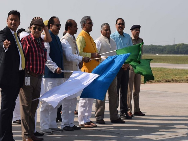 Uttarakhand Chief Minister on Friday flagged off Hindon-Pithoragarh flight from Hindon Aiport in Uttar Pradesh. Photo/ANI
