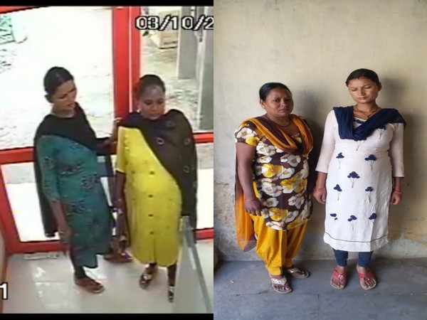 Screen grab of the accused from the CCTV footage (left), women after being arrested (right). Photo/ANI