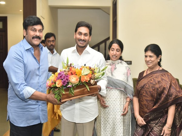 K Cheeranjeevi with Andhra Pradesh Chief Minister YS Jaganmohan Reddy on Monday at his residence in Amravati. Photo/ANI