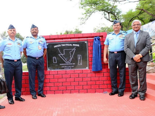 (Left to right): Group Captain Anuj Pathak, Air Commodore  R Punj, Air Marshal B Suresh and Natraj Krishnappa at the IACCS in Bengaluru on Wednesday. Photo/ANI