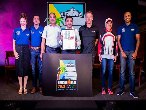 Pramod Sawant releases commemorative IRONMAN 70.3 postal stamp here on Thursday.