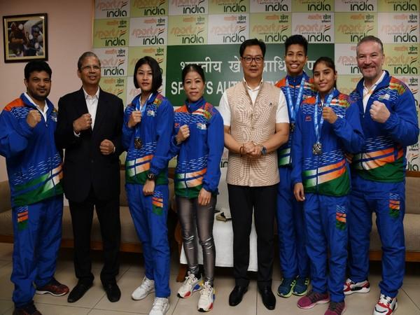 Union Sports minister Kiren Rijiju felicitated Indian women boxers here on Saturday.