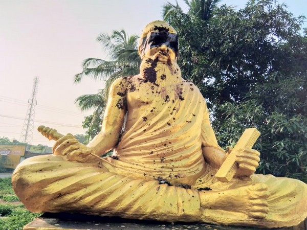 The Thiruvalluvar statue was vandalised with cow dung at Pillayarpati on Monday