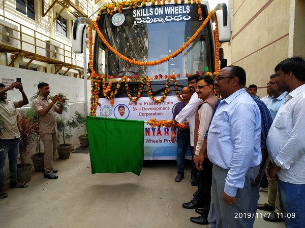 Andhra Pradesh State Skill Development Corporation launched 'Skills on Wheels' bus on Thursday. Photo/ANI
