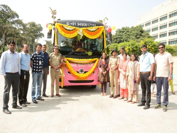 The launch of 'She Shuttle' bus service in Hyderabad on Monday.