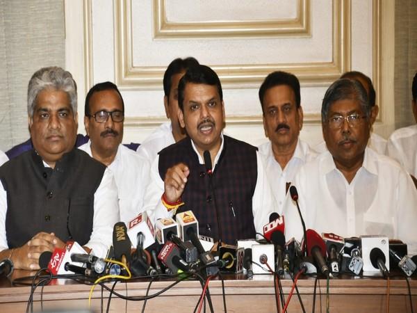 BJP leader Devendra Fadnavis addressing a press conference in Mumbai . Photo/ANI