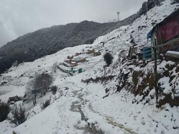 The Auli area of Uttarakhand covered in snow on Wednesday.
