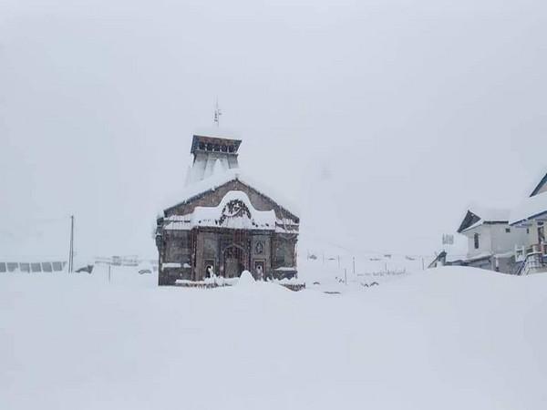 The snow-covered shrine of Kedarnath in Uttarkhand