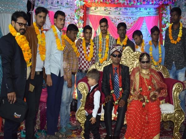 The wedding ceremony of the blind couple in Chhattisgarh on Thursday.