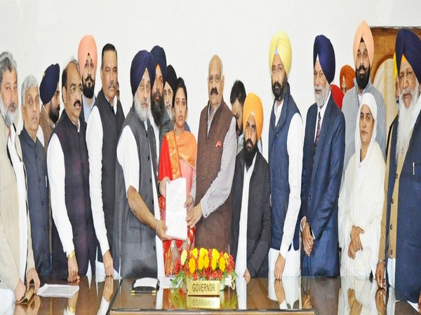 SAD-BJP delegation during a meeting with Punjab Governor VP Singh Badnore on Tuesday. Photo/ANI