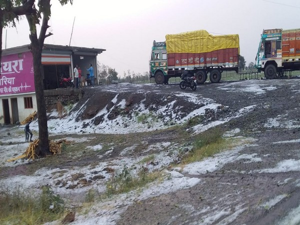 The Dewas region in Madhya Pradesh covered in hail on Friday.