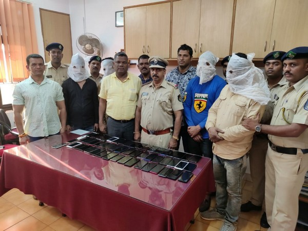 Calangute Police on Monday arrested four men and recovered 54 mobile phones worth Rs 10 lakh in Goa. Photo/ANI