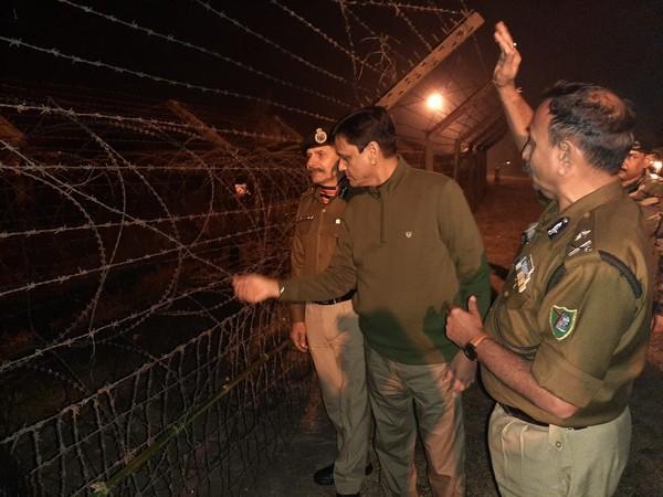 Minister Nityanand Rai at the India-Bangladesh border in Jalpaiguri on Monday.